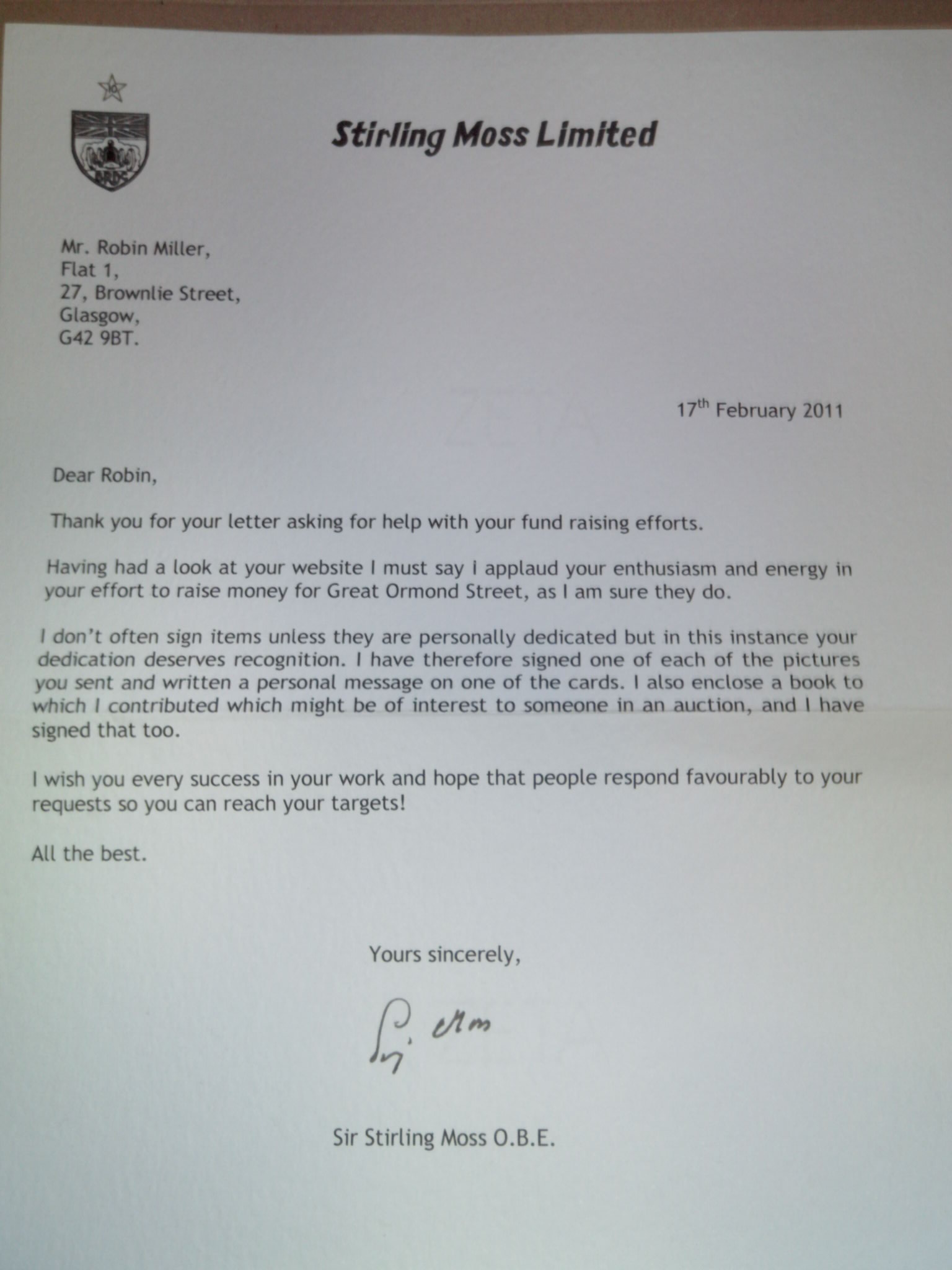 An AWESOME Good Luck Letter – OneHundredNotOut!